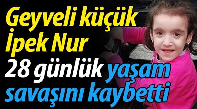 Geyveli küçük İpek Nur yaşama tutunamadı