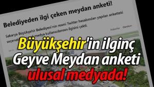 Büyükşehir'in ilginç Geyve Meydan anketi ulusal medyada!