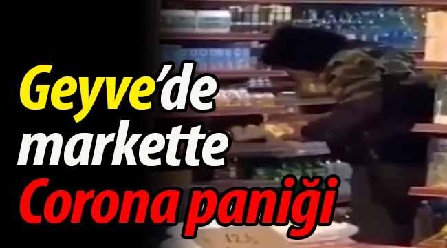 Geyve'de markette Corona paniği