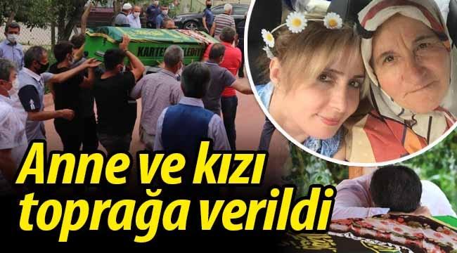 Taraklı'da cinayete kurban giden anne ve kızı toprağa verildi