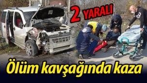 Ölüm kavşağında yine kaza! 2 Yaralı