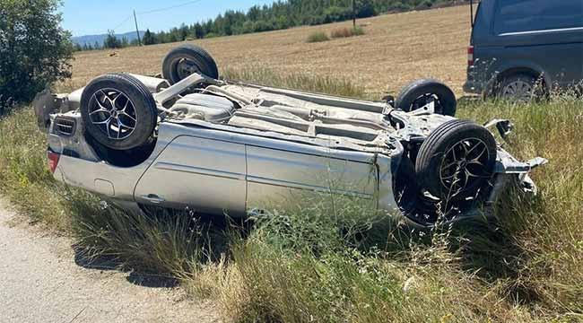 Yoldan çıkan otomobil takla attı: 1 yaralı