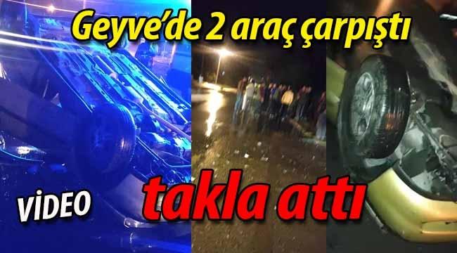 Geyve'de kaza.. Otomobil takla attı!