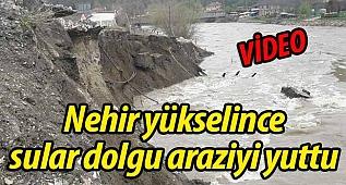 Nehir yükselince sular dolgu araziyi yuttu